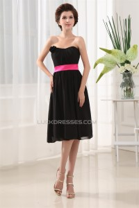 A-Line Soft Strapless Chiffon Short Black Bridesmaid ...