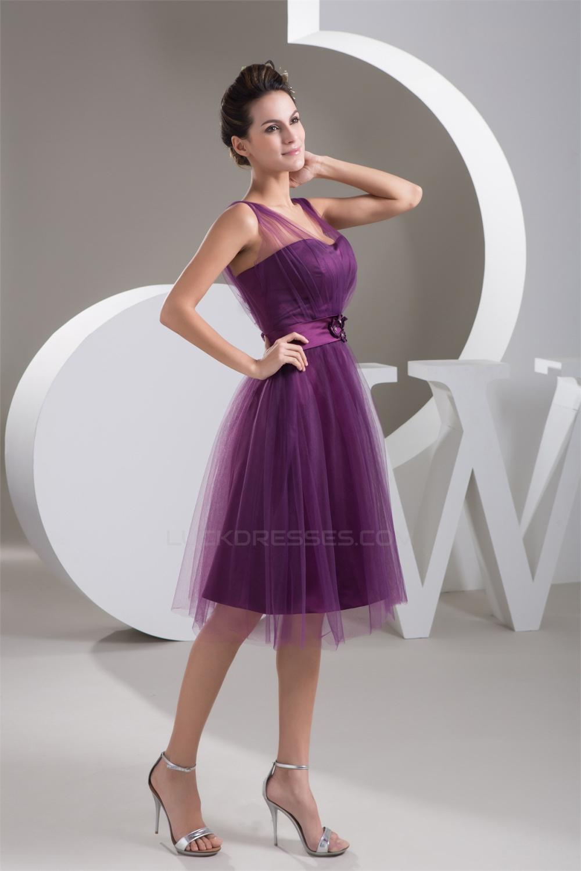 Satin Fine Netting VNeck KneeLength Short Purple Bridesmaid Dresses 02010421