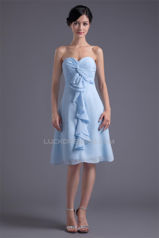 Chiffon Criss Cross KneeLength Short Bridesmaid Dresses 02010477