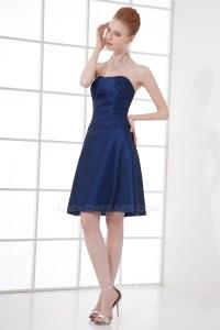 A-Line Strapless Taffeta Soft Short Blue Bridesmaid ...