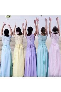 Cap-Sleeves Lace Long Bridesmaid Dresses 3010020