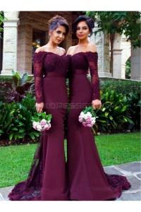 Long Sleeves Off-the-Shoulder Lace Purple Mermaid Wedding ...