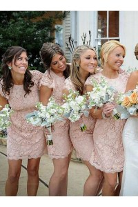 Short Lace Cap-Sleeves Lace Wedding Party Dresses ...