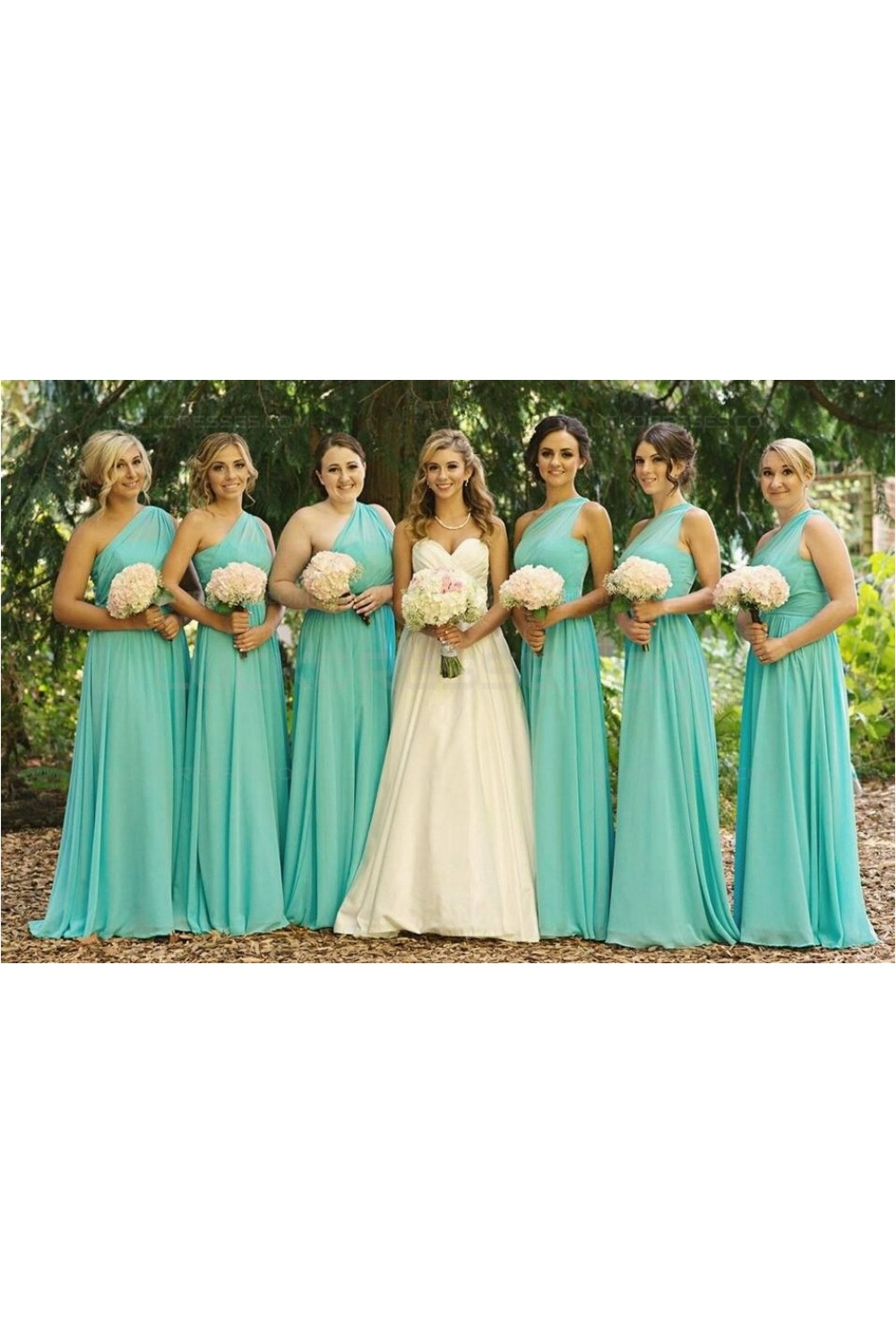 Mint Green OneShoulder Long Chiffon Wedding Guest Dresses Bridesmaid Dresses 3010162