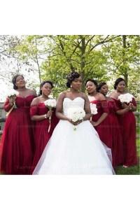 3/4 Length Sleeve Burgundy Plus Size Wedding Guest Dresses ...