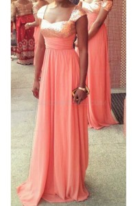 Long Coral Sequins Chiffon Wedding Guest Dresses ...