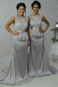Long Silver Mermaid Lace Wedding Guest Dresses Bridesmaid ...