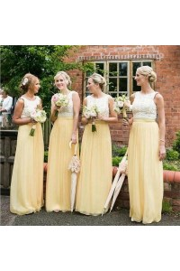 Long Yellow White Lace Wedding Guest Dresses Bridesmaid ...