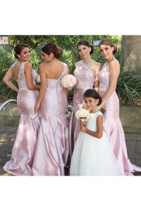 Mermaid One-Shoulder Lace Long Wedding Guest Dresses ...