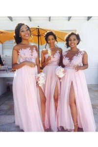Long Pink Lace Appliques Chiffon Wedding Guest Dresses