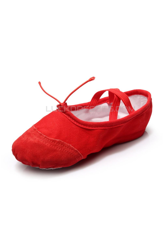 Womens Kids Red Canvas Dance Shoes BalletLatinYogaDance Sneakers Canvas Flat Heel D601042