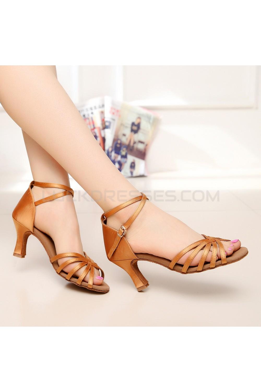 Womens Heels Brown Satin Modern Ballroom Latin Salsa Ankle Strap Dance Shoes D901004