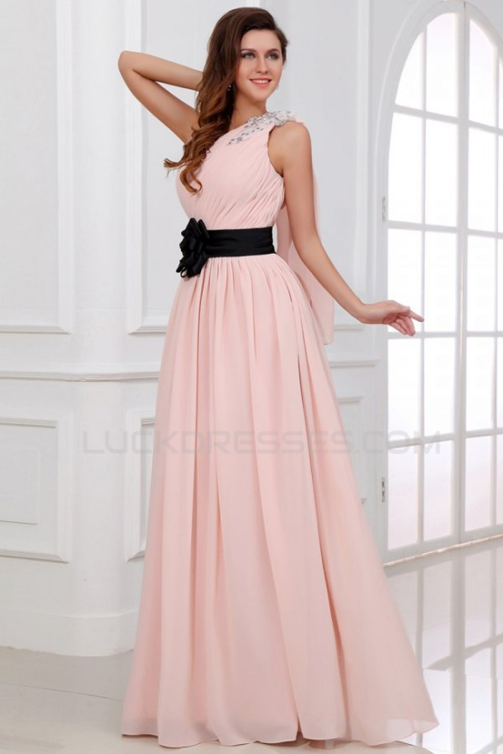 ALine OneShoulder Long Pink Beaded Chiffon Prom Evening Formal Party DressesBridesmaid