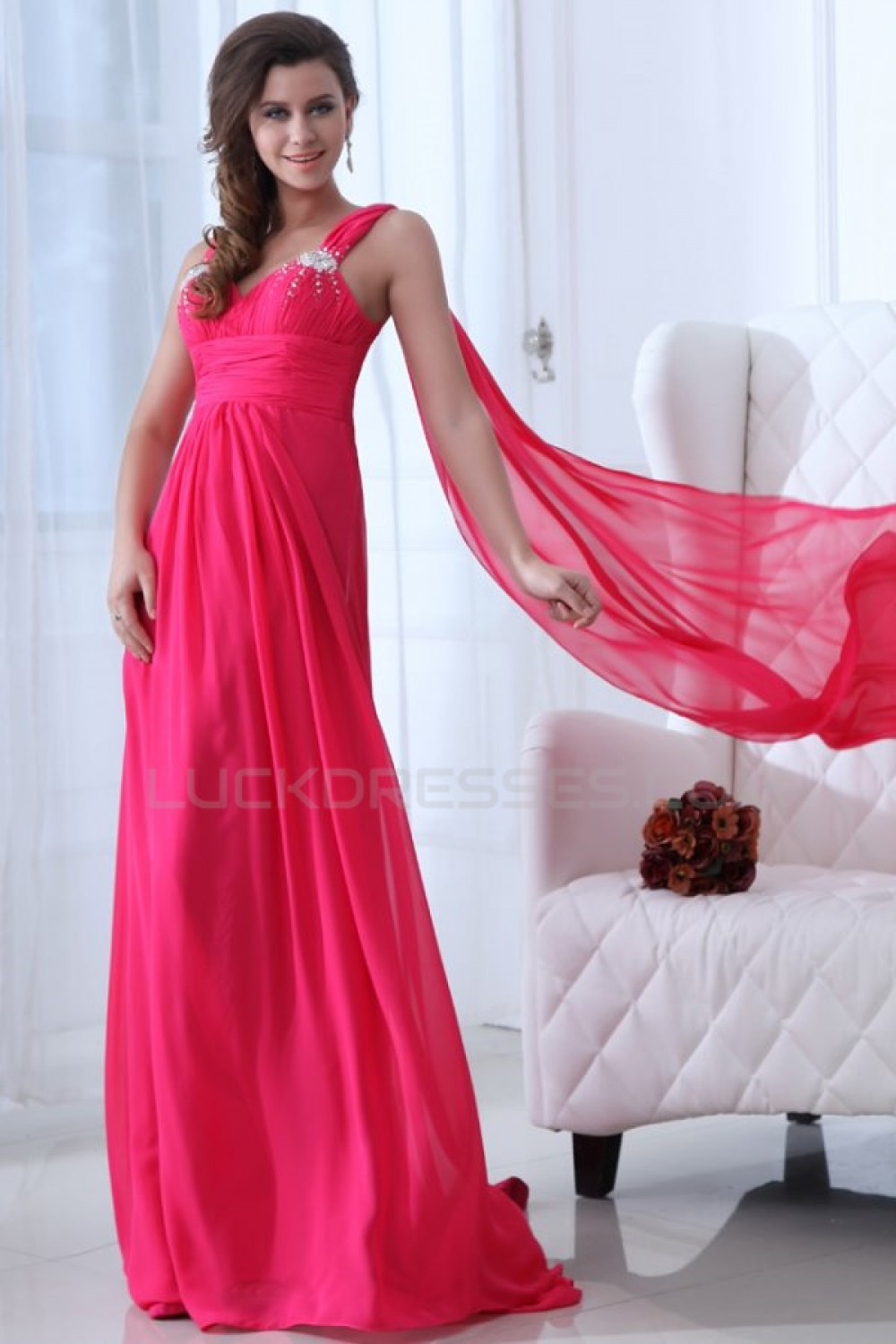 ALine Long Pink Chiffon Prom Evening Formal Party Dresses ED010060