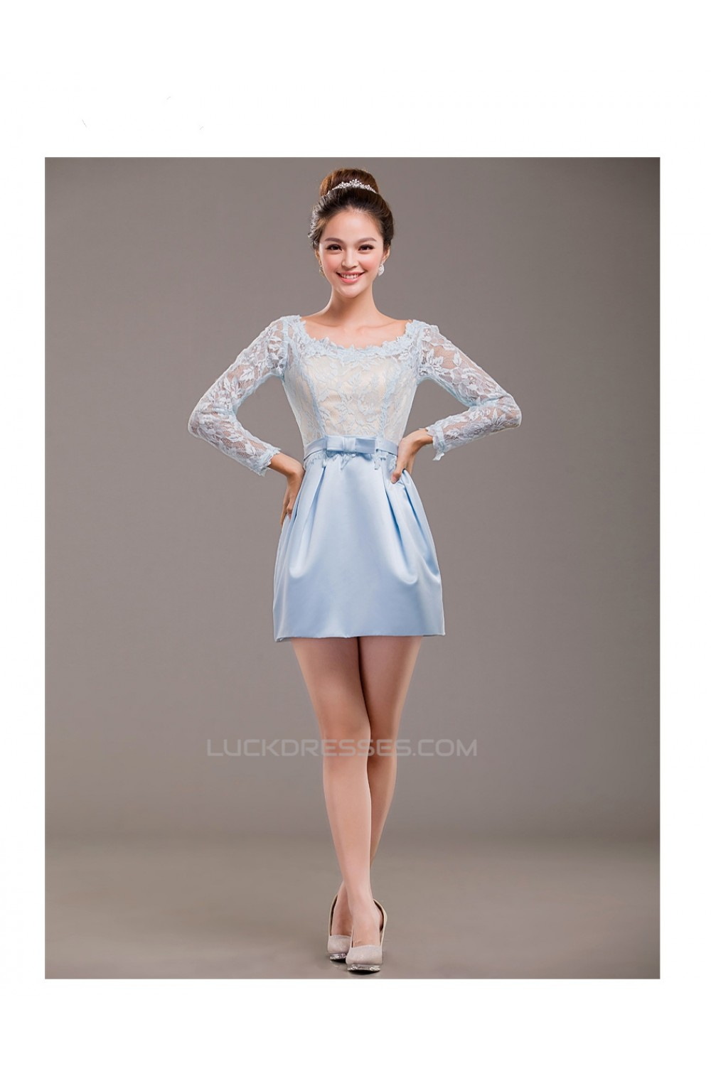 Short Long Sleeve Lace and Satin Prom Evening Formal