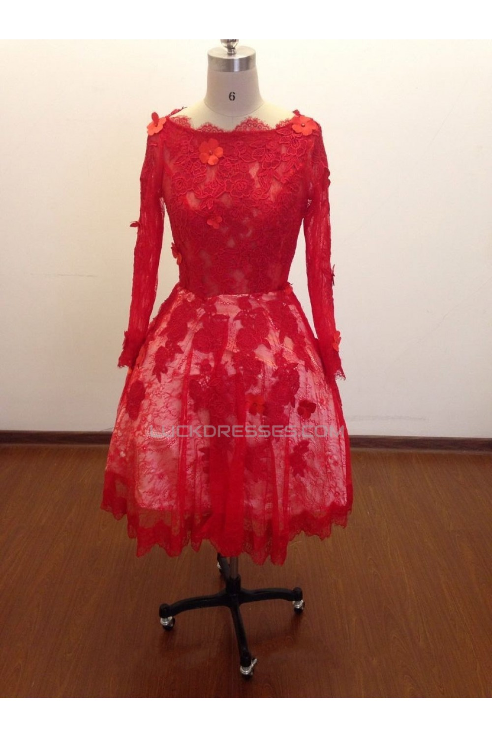 ALine Long Sleeve Short Red Lace Prom Evening Formal