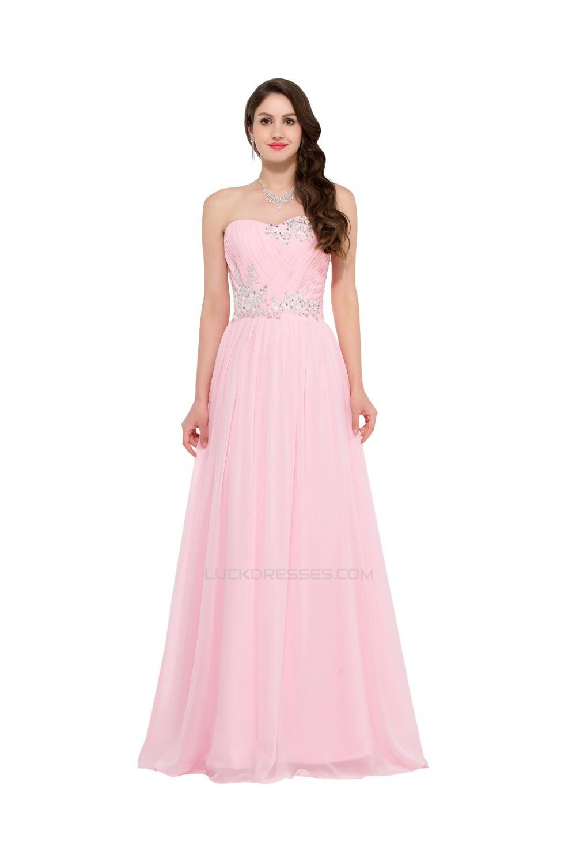 ALine Sweetheart Beaded Long Pink Chiffon Prom Evening Formal Dresses ED011641