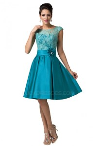 A-Line Bateau Lace and Satin Short Prom Evening Formal ...