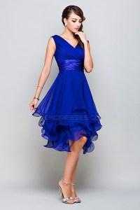 A-Line Princess V-Neck Short Royal Blue Chiffon Prom ...