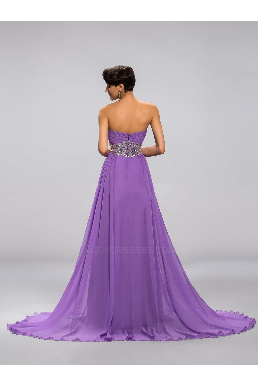 ALine Sweetheart Beaded Long Purple Chiffon Prom Evening Formal Party Dresses ED010680