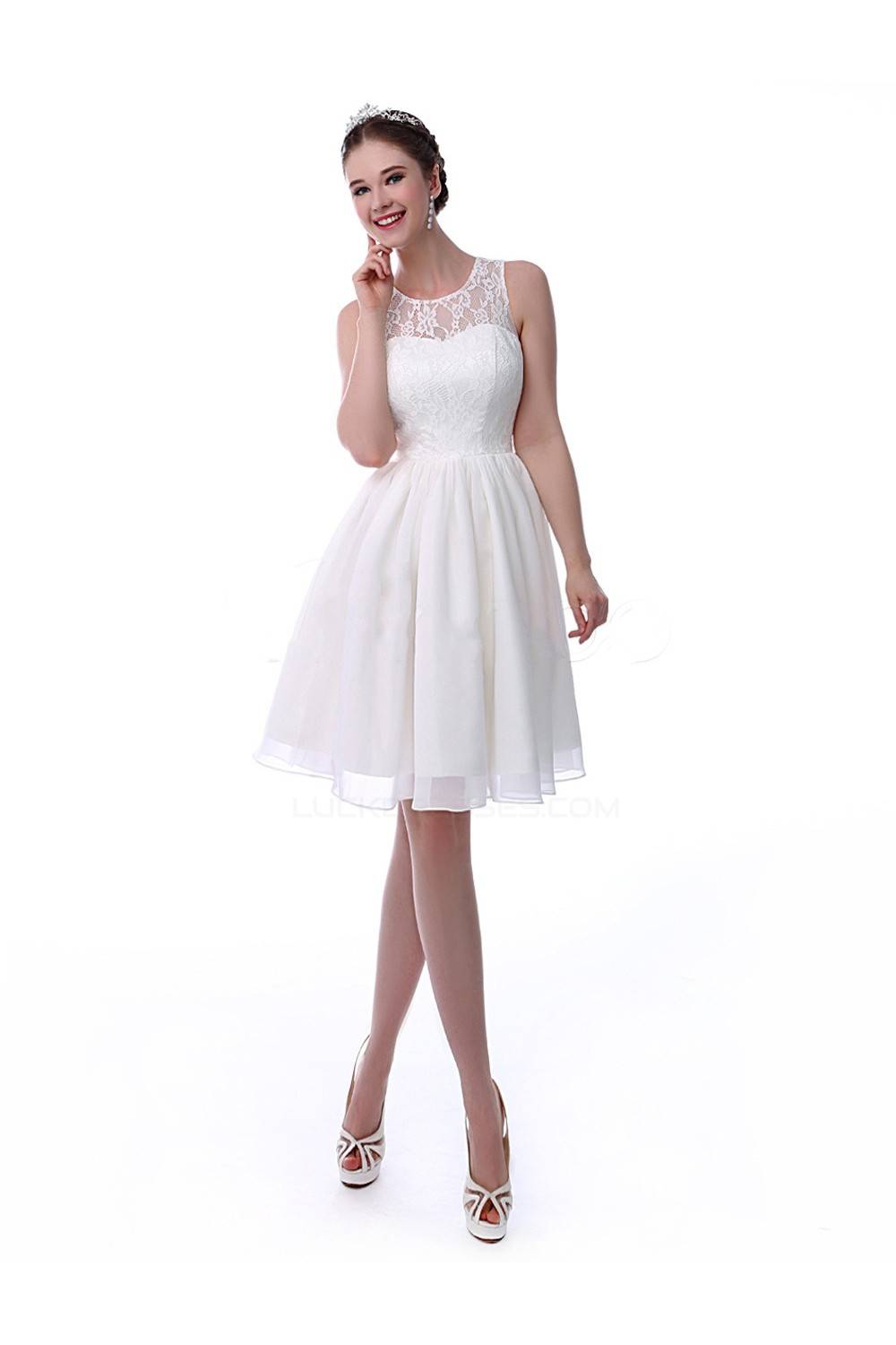ALine Short White Lace and Chiffon Prom Evening Formal