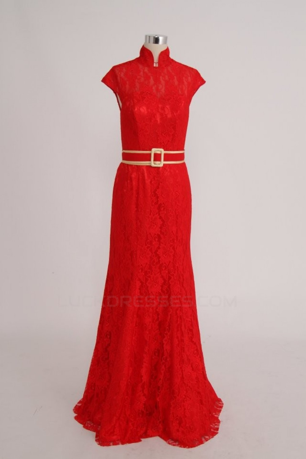 High Neck Long Red Lace Prom Evening Formal Party Dresses