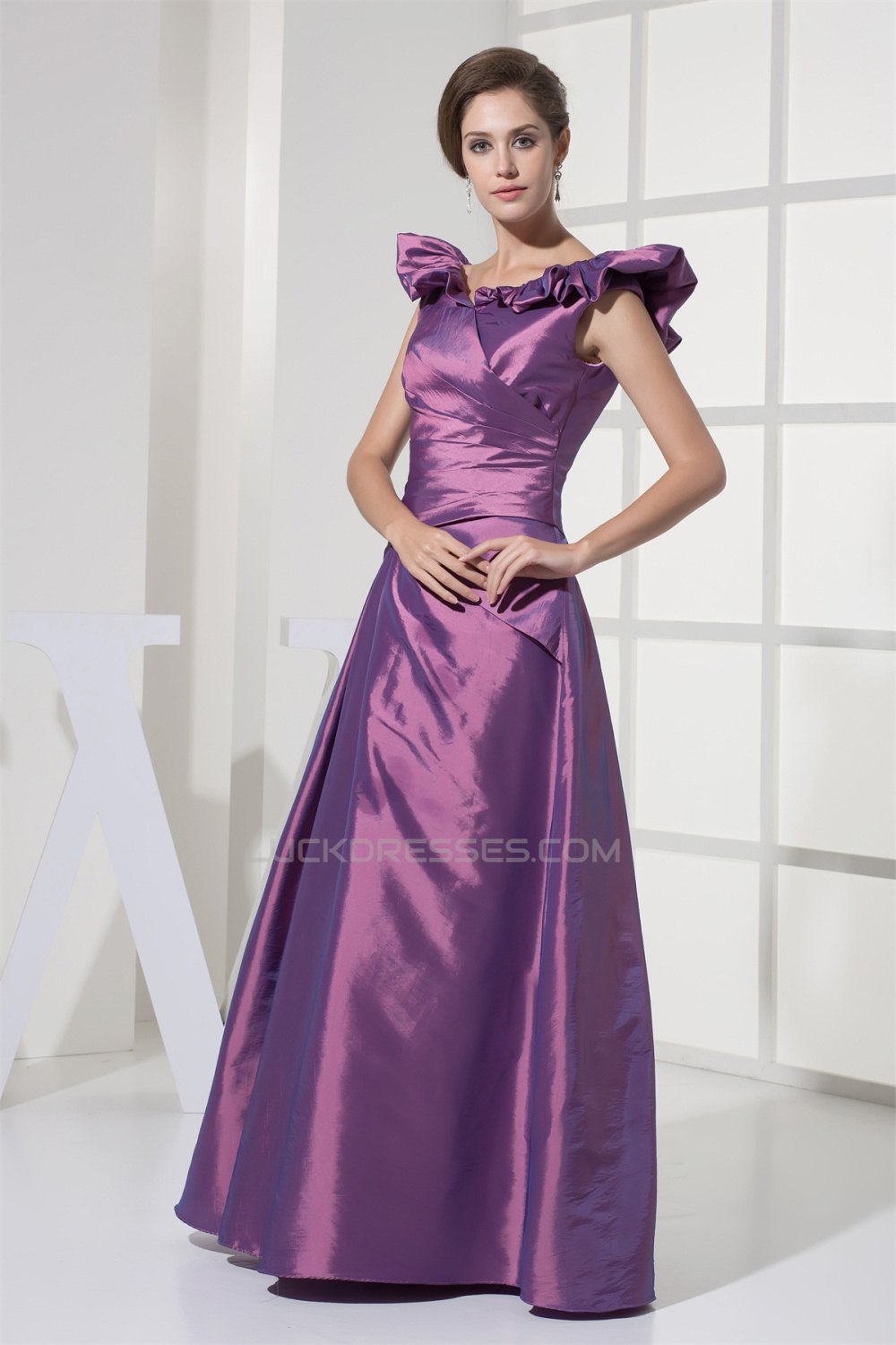 FloorLength Satin Taffeta Sleeveless ALine PromFormal