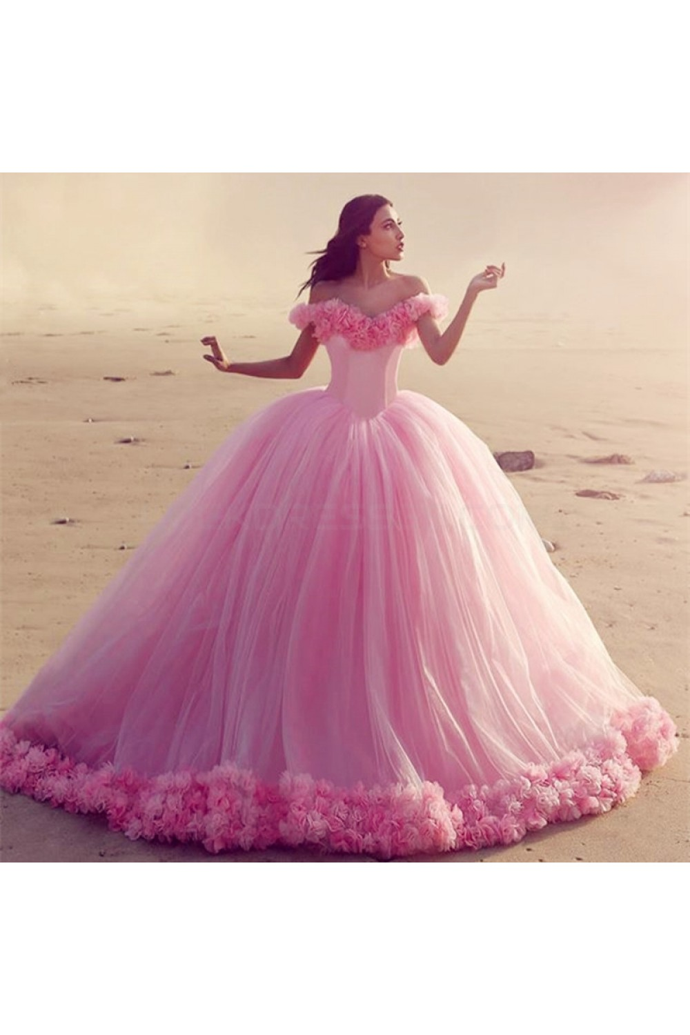 Long Pink OfftheShoulder Ball Gown Prom Prom Formal Evening Party Dresses 3021198