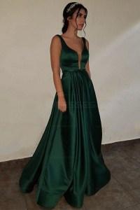 Elegant V-Neck Long Green Prom Evening Formal Dresses 3021541
