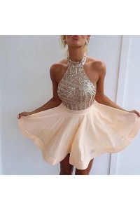 Halter Sequins Short Backless Homecoming Cocktail Prom ...