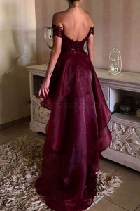 High Low Burgundy Off-the-Shoulder Lace Prom Dresses Party ...