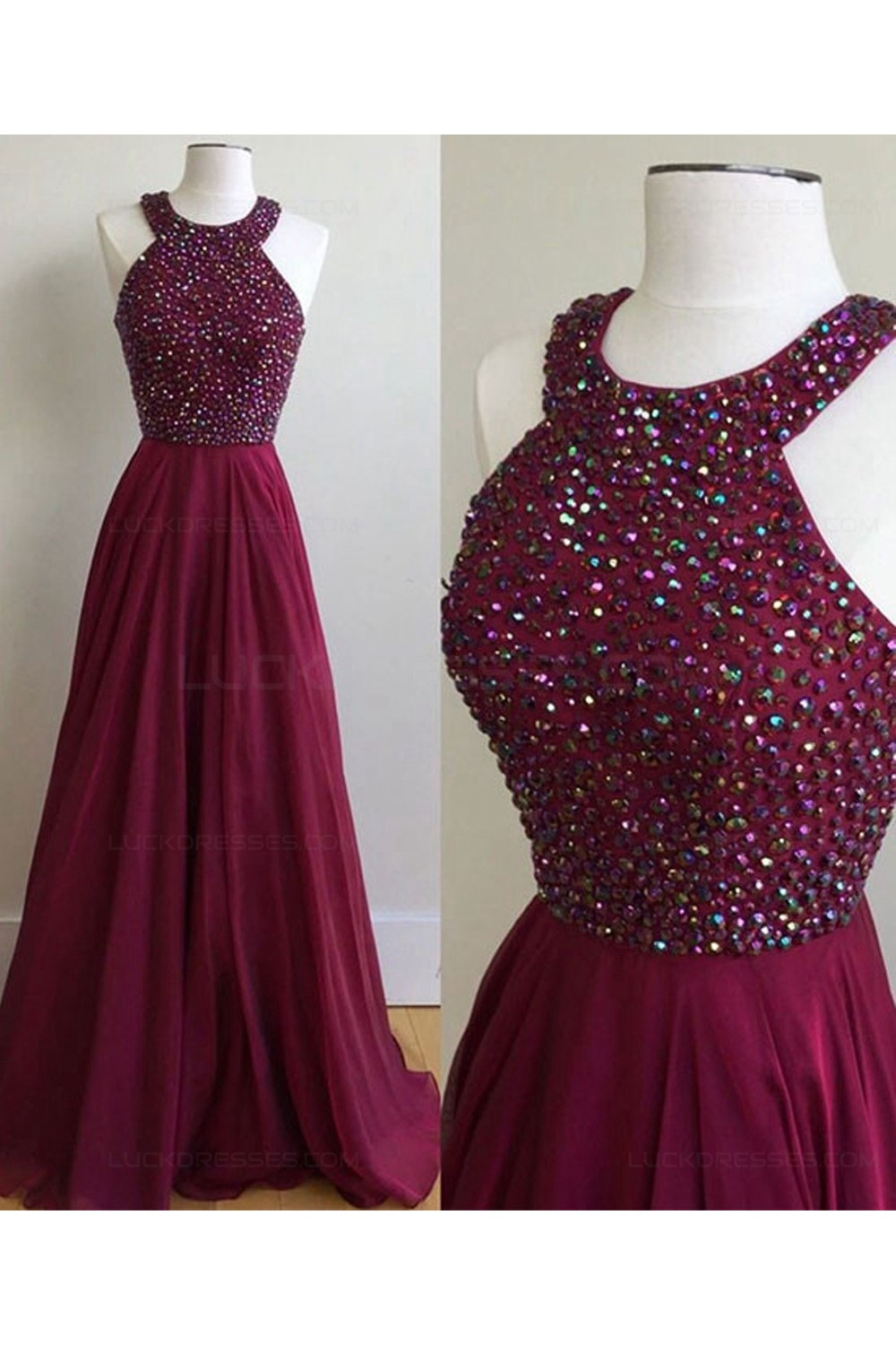 ALine Burgundy Beaded Chiffon Prom Dresses Party Evening