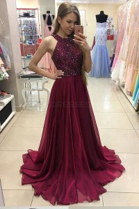 A-Line Burgundy Beaded Chiffon Prom Dresses Party Evening ...