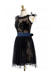 Short Black Lace Backless Homecoming Cocktail Prom Dresses ...