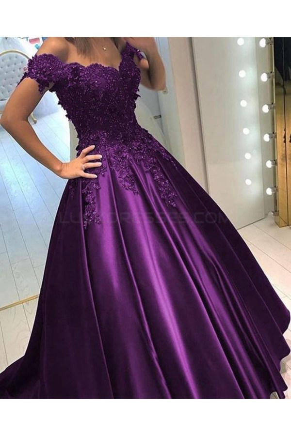 Ball Gown -shoulder Purple Long Lace Prom Formal