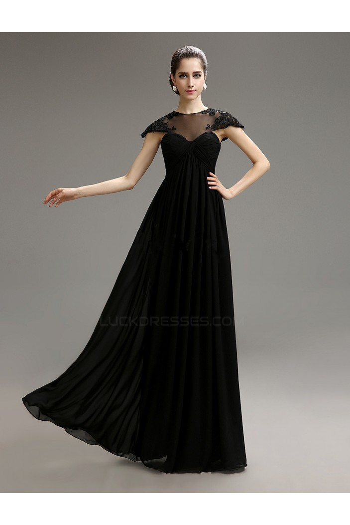 Empire CapSleeve Long Black Chiffon Mother of the Bride