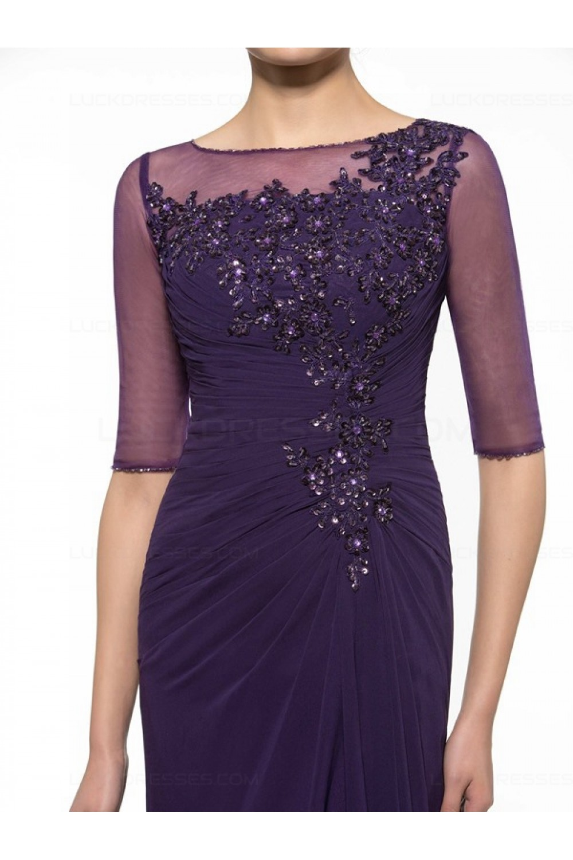 Half Sleeves Illusion Neckline Lace Chiffon Long Purple