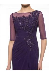 Half Sleeves Illusion Neckline Lace Chiffon Long Purple ...