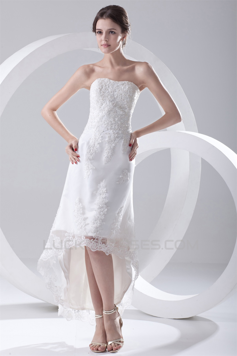 Satin Lace ALine Soft Sweetheart Reception High Low
