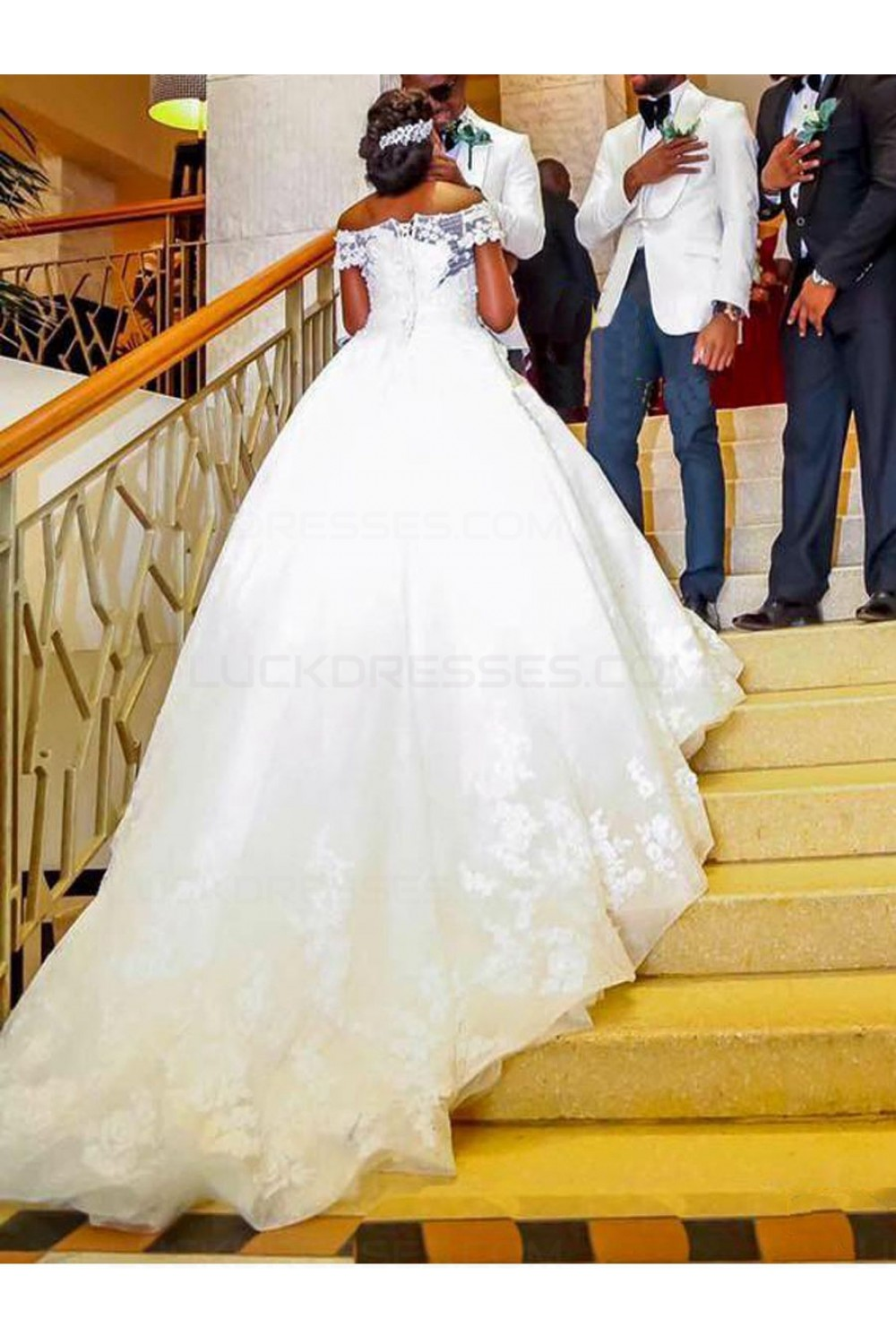 Lace Ball Gown OfftheShoulder Plus Size Wedding Dresses