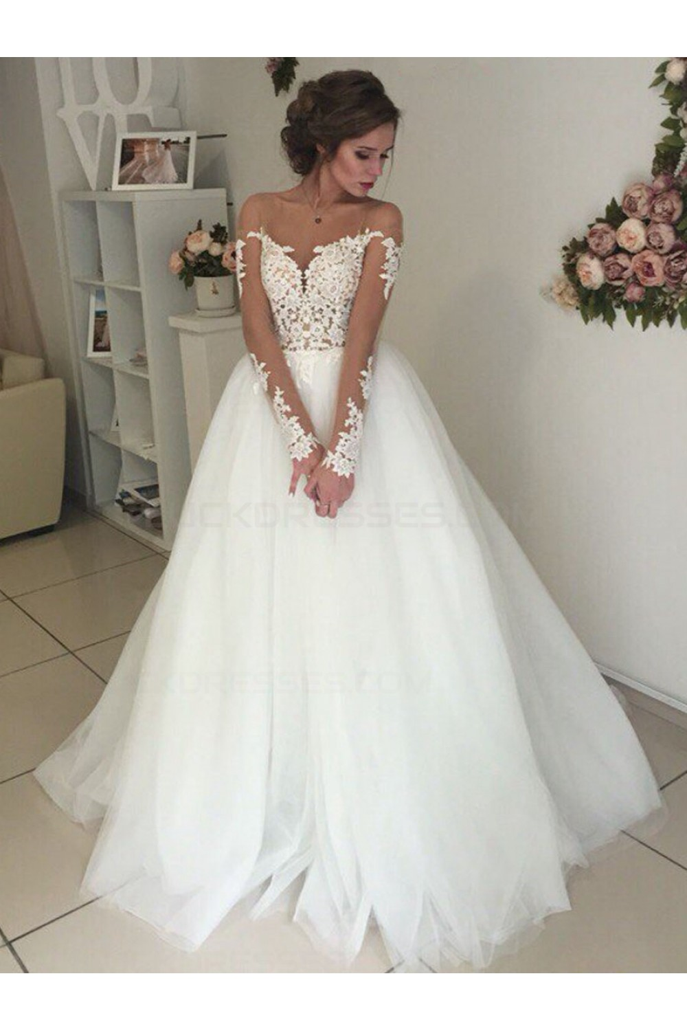 Long Sleeves Lace Illusion Neckline Wedding Dresses Bridal Gowns 3030300