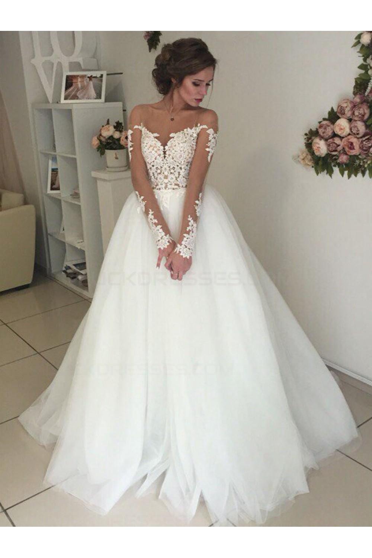 Long Sleeves Lace Illusion Neckline Wedding Dresses Bridal