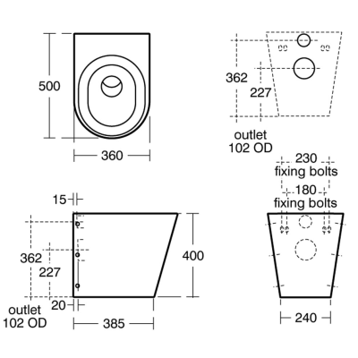 Armitage Shanks S3442MY : WC Pan, Back To Wall Horizontal
