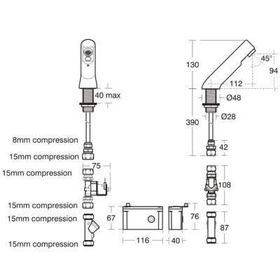 Armitage Shanks A4852GN : Mixer, Deck Spout Compact Mains