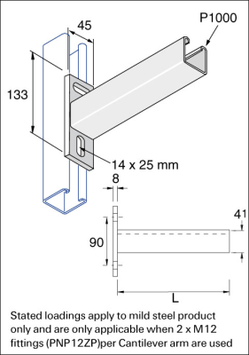 Unistrut P2663/600H : Cantilever Arm, for P1000 Channel