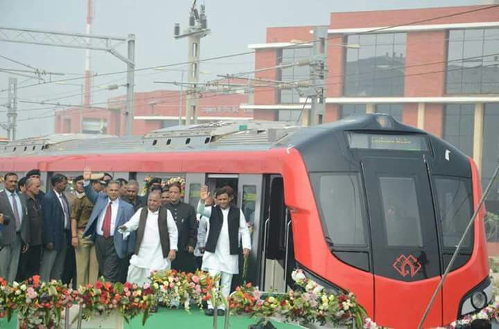 Uttar Pradesh chied minister and Samajwadi party chief- Mulayam Singh Yadav alight from Lucknow Metro after its maiden trial in Lucknow.