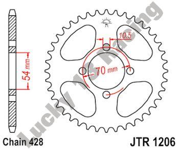 JT 44T 428 pitch rear sprocket for Honda CBR 125R 04-05 RW