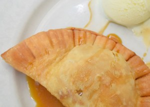 Local Peach Hand Pie with sorghum syrup and vanilla ice cream