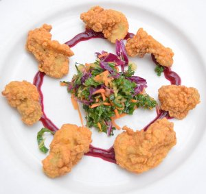Flash Fried Oysters with winter slaw and beet ketchup