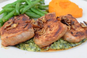 Local Pork Loin, seared Hickory Nut Gap pork loin with creamed spinach and shiitake bacon